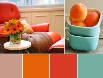 Голубой с оранжевым в интерьере