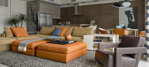 Динамичный дизайн интерьера квартиры для одинокого молодого человека