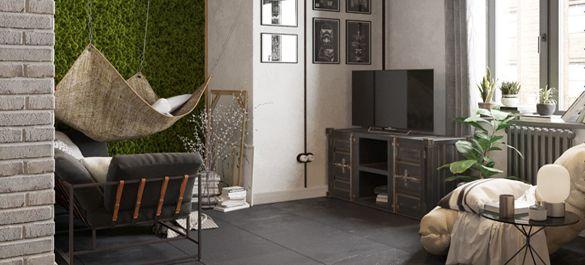 Мох под сеткой рабицей - стильный лофт в городской квартире