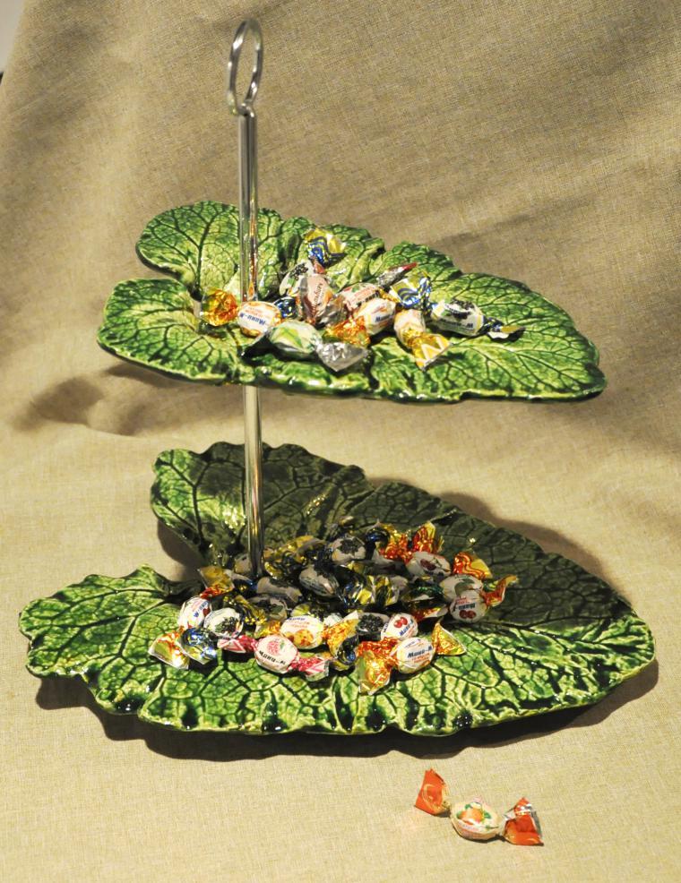 Оригинальное двухуровневое блюдо «Листья» своими руками