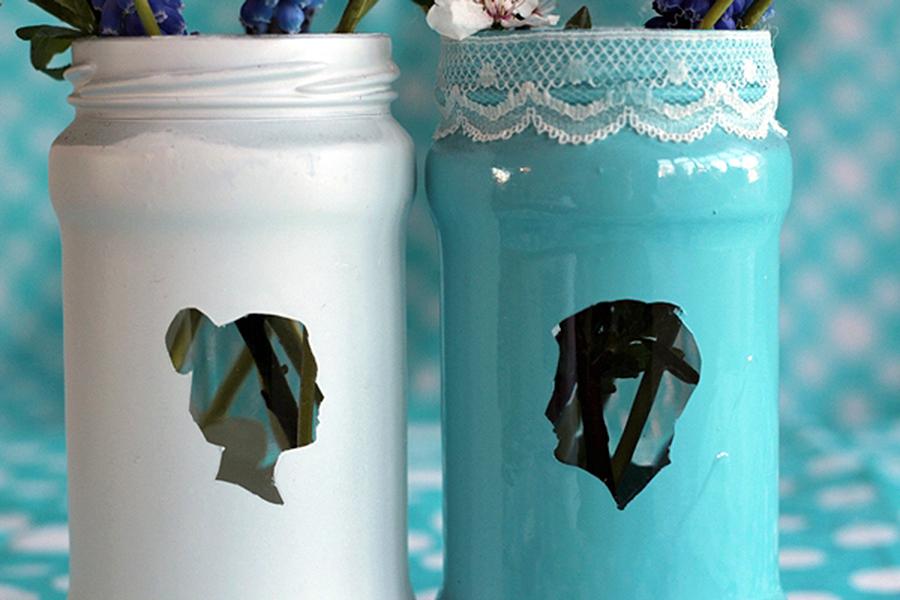 Превращаем старые банки в прекрасные вазы с силуэтами