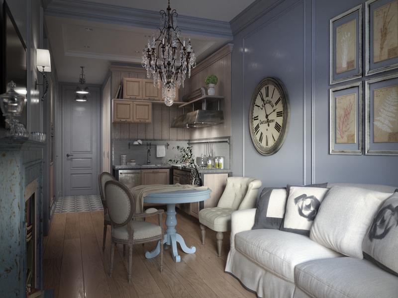 Суровый питерский прованс в интерьере квартиры-студии