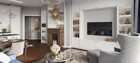 Американский интерьер с зеркалом-солнцем в питерской квартире