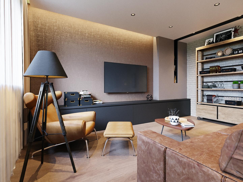 Квартира в стиле лофт для семьи из двух человек