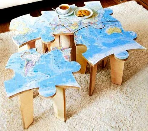 Необычный модульный кофейный столик «пазл» из фанеры своими руками