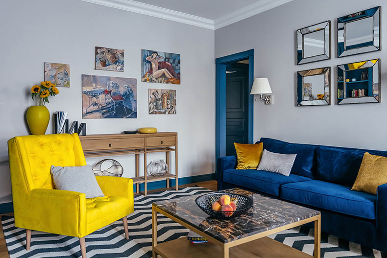 Цветная провокация в интерьере 3-х комнатной квартиры в Москве