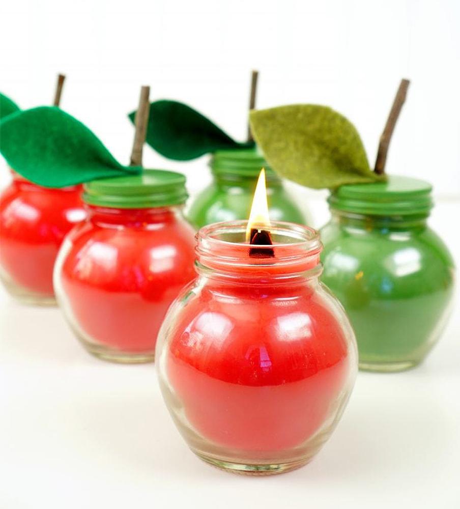 Осенний декор: свечки-яблочки своими руками