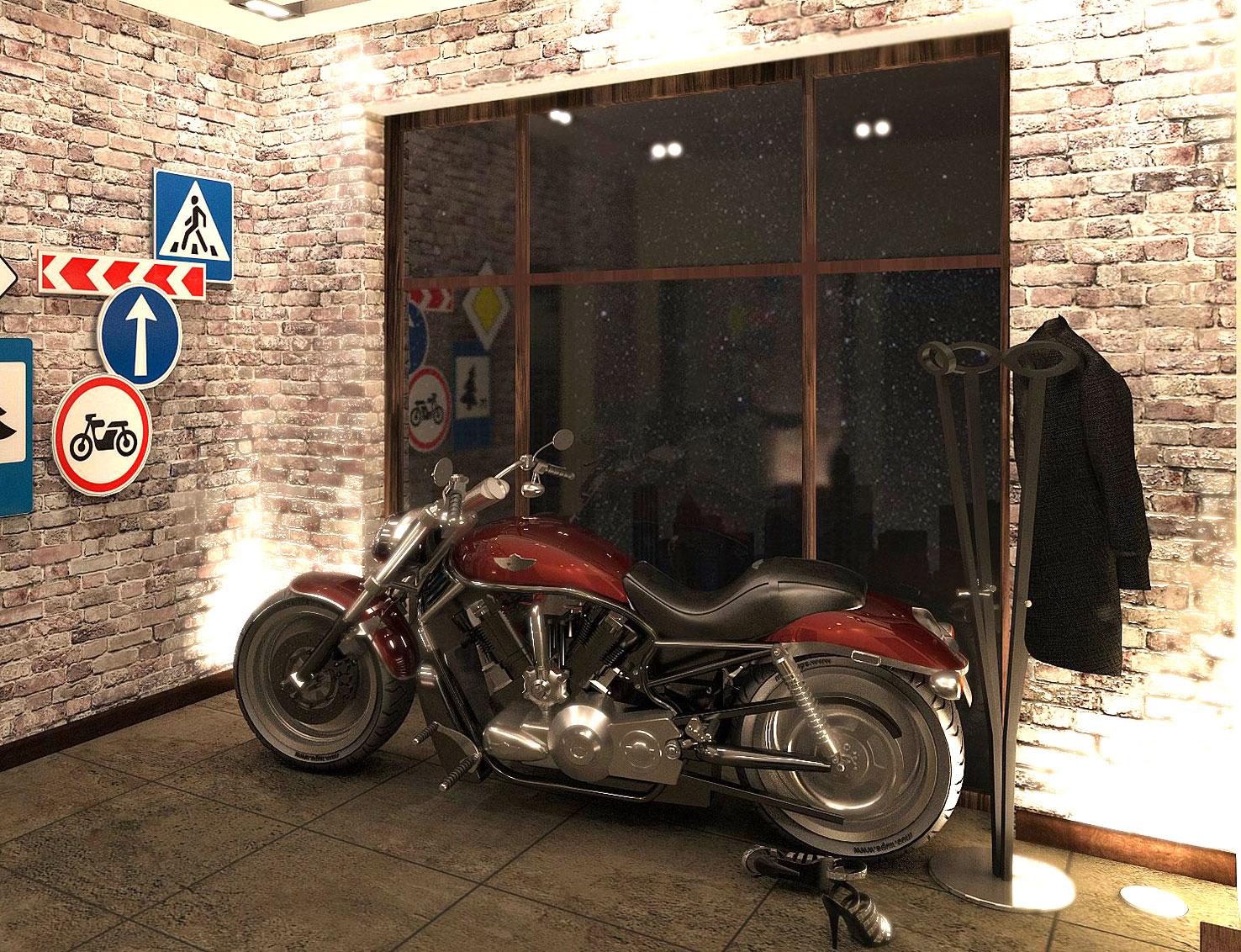 Интерьер квартиры в стиле лофт с настоящим мотоциклом в прихожей