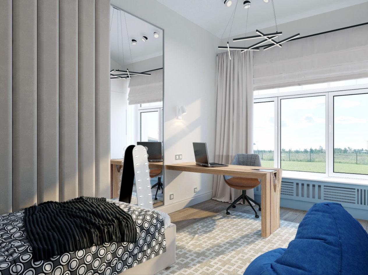 Дизайн интерьера в стиле современной классики: лепнина под натяжным потолком.