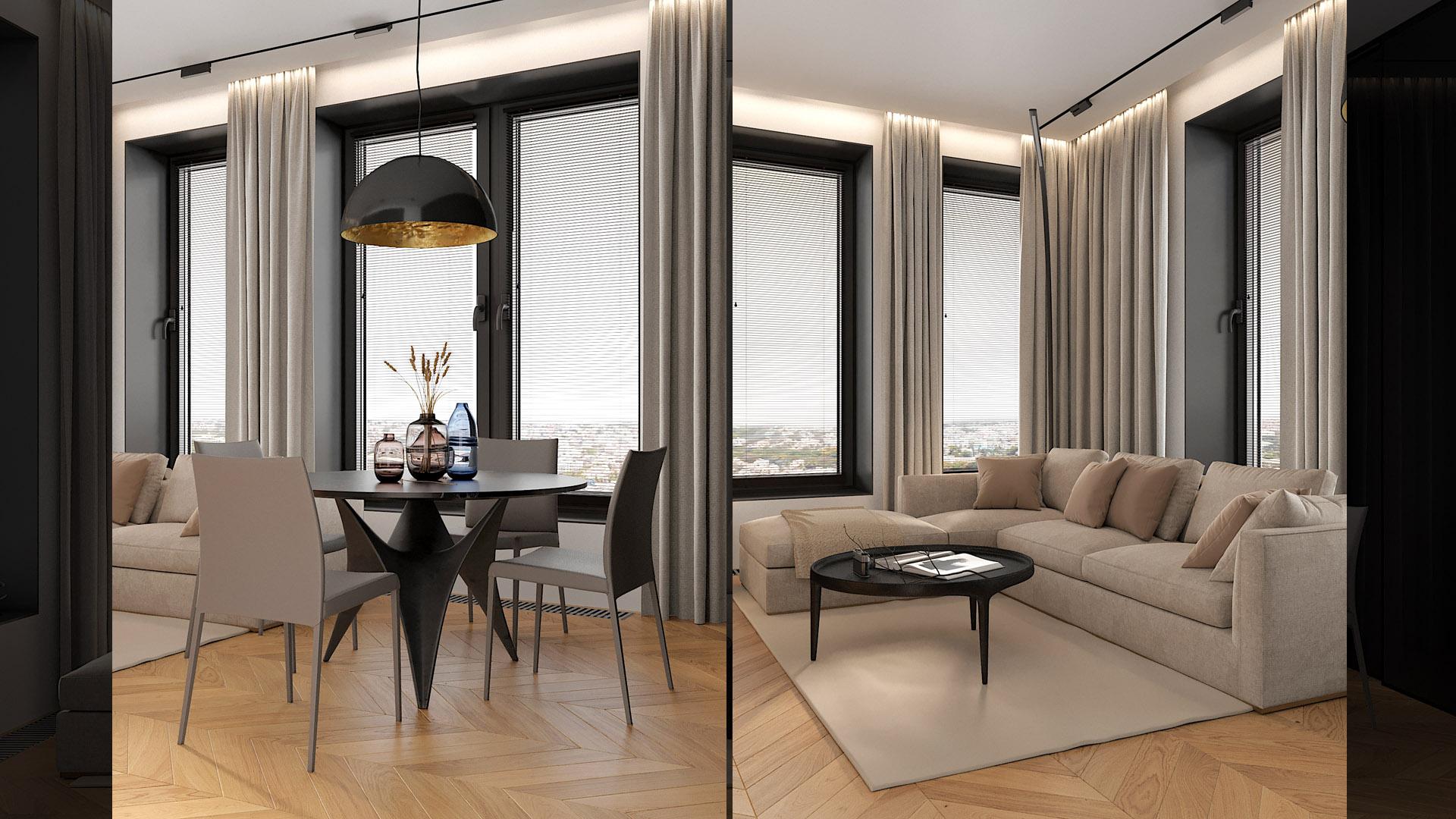 Квартира вместо отеля: графичный интерьер без лишних деталей