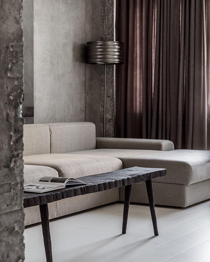 Интерьер квартиры в стиле минимализм с бетонными акцентами
