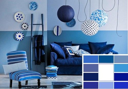 Сочетание цветов в интерьере. Синий.