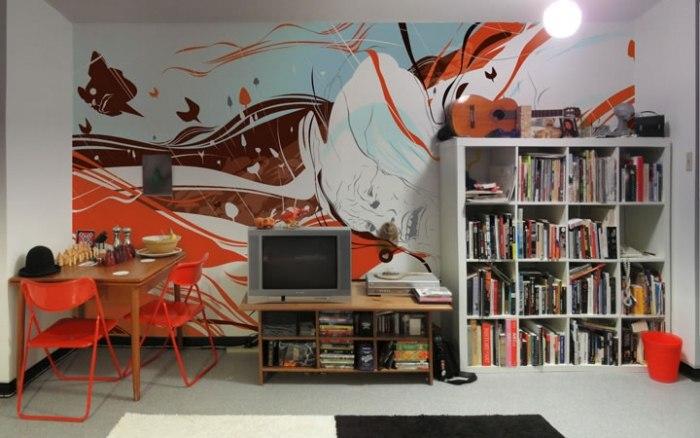 Граффити рисунки на стене в современном интерьере вашего дома.