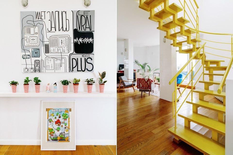 Двухэтажная квартира с жёлтой лестницей