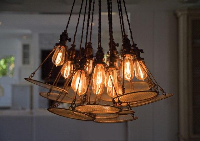 Ретро лампочки в интерьере