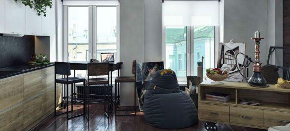Дизайн квартиры–студии в стиле индастриал