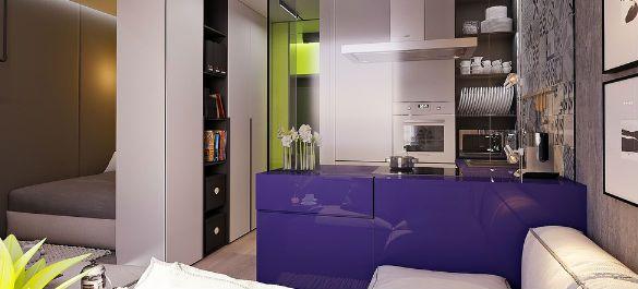 Однокомнатная квартира в Екатеринбурге с яркими цветовыми акцентами