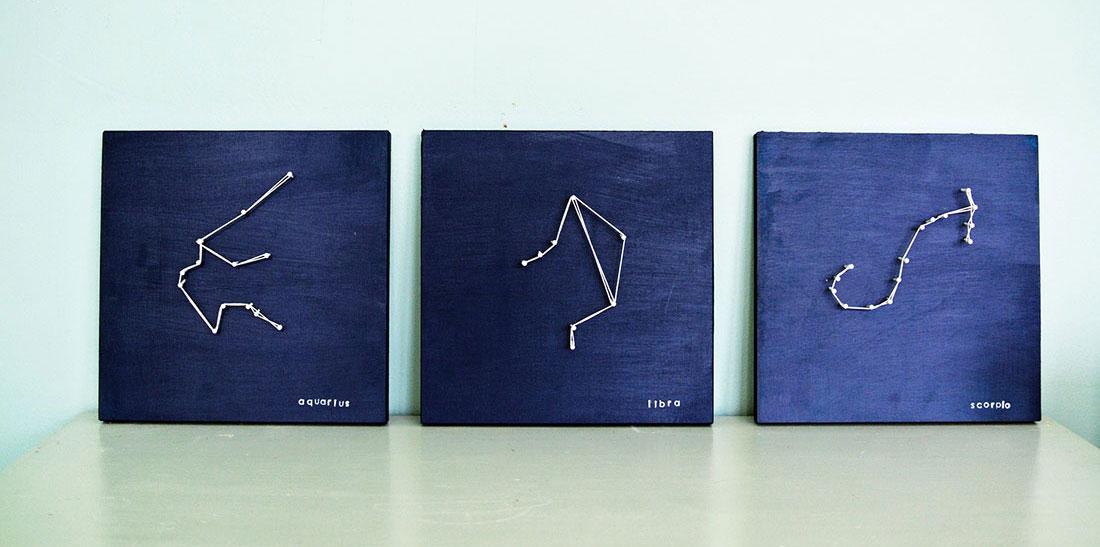 Зодиакальные созвездия из ниток и гвоздей своими руками (string art)